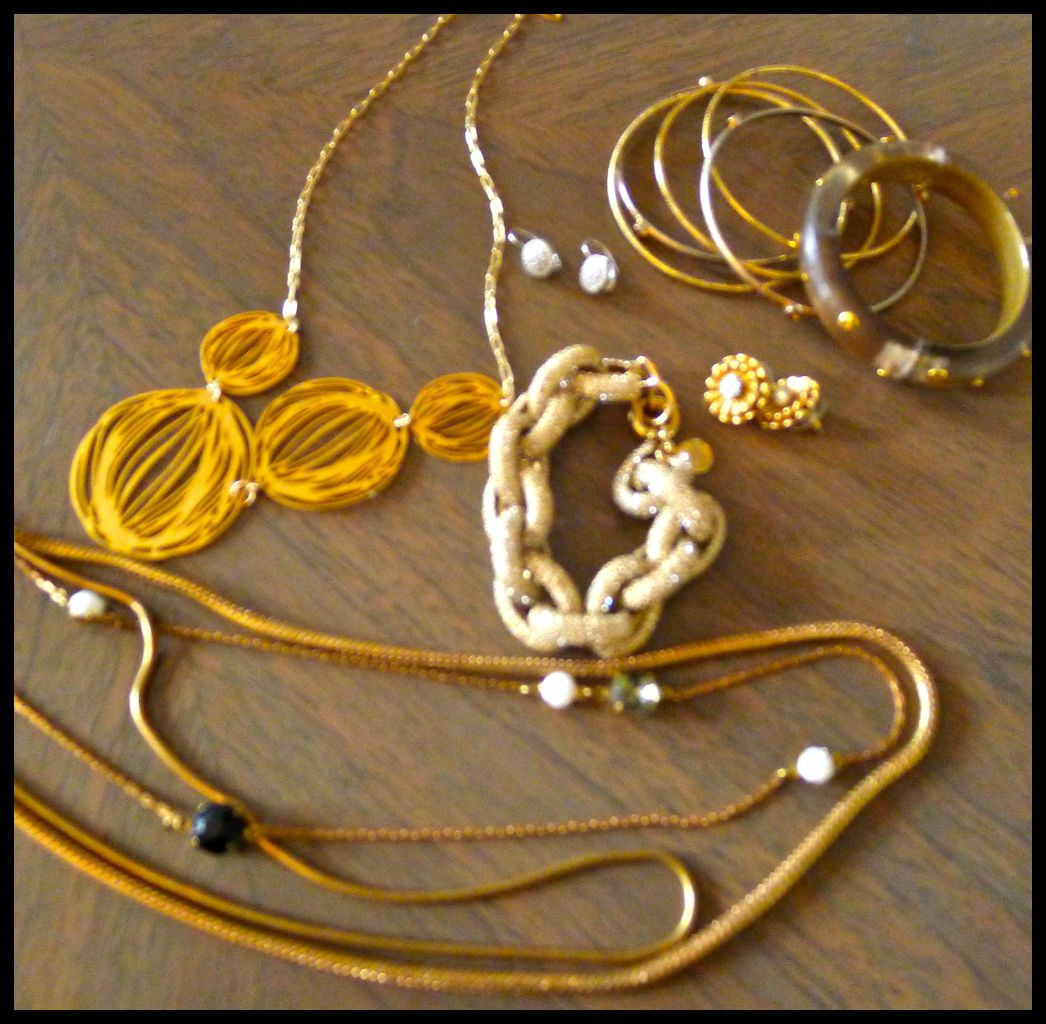 L to R: Gold necklace: Kyler Designs, Diamond Earrings: Bettina Duncan at Fred Segal, Bangles: Noni Boutique, Bracelet: Alexis Bittar, Gold Earrings: J. Crew, Pave Bracelet: J. Crew, Necklace (bottom) Lulu Frost
