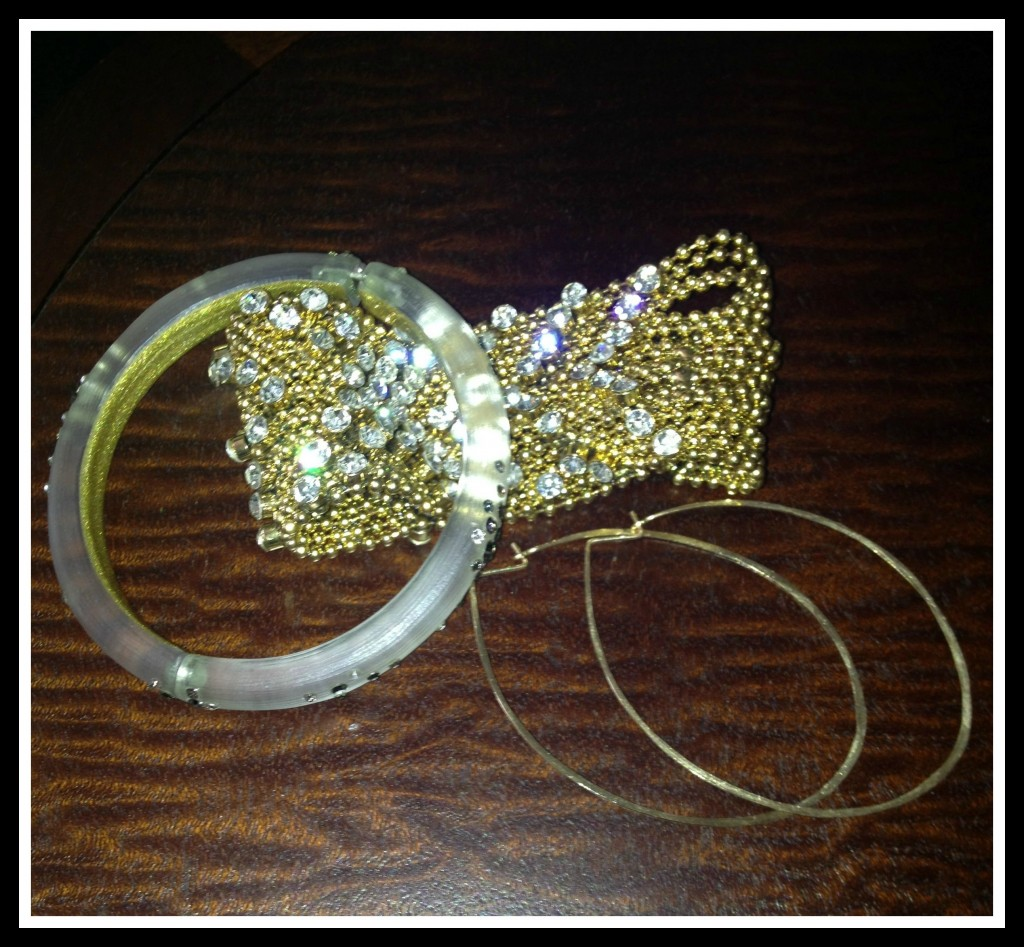 Jewelry: Bracelet: Alexis Bittar, Earrings: Kyler Design, Cuff Bracelet: Anthropologie