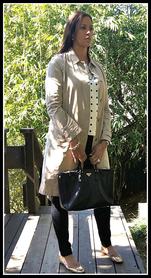 Trench: Prada, Top: J. Crew,  Skinny Jeans: The Gap, Flats: J. Crew, Earrings: Fred Segal, Bracelets, Alexis Bittar, Noni Boutique, Watch: Rolex