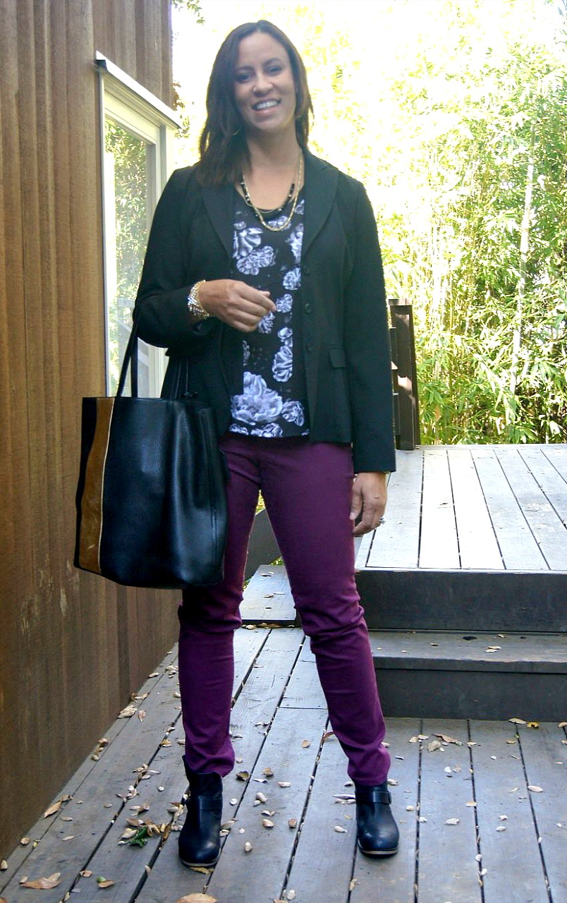 Jacket: Elie Tahari, Tank Top: Prabal Gurung for Target, Jeans: Loft, Booties: Piperline, Handbag: Reed Krakoff