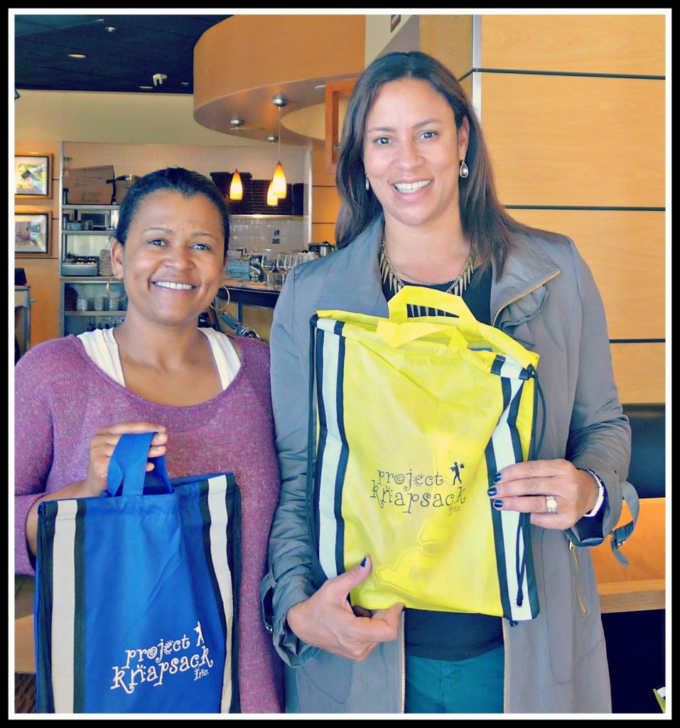 Porcha Dodson and Christina Simon at Project Knapsack's backpack stuffing event at California Pizza Kitchen this morning. Project Knapsack, founded by Porcha, delivers school supplies to children in Africa