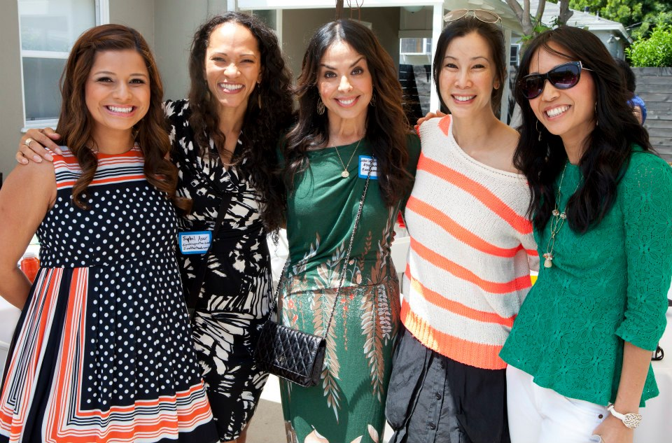 "At a fabulous event to screen trailer for ""Pushing Motherhood, a documentary about becoming a mom later in life...infertility, and other important issues are covered in this moving film. L to R: Christina Cevallos, Sybil Azur, Linda Cevallos-French, Lisa Ling, Diane Mizota (host). See below for links."