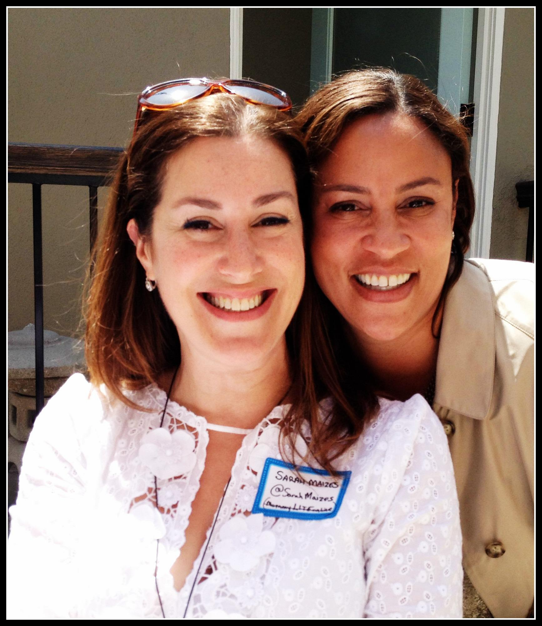 """Sarah Maizes, funny girl/ author of """"On My Way To The Bath"""" and Mommyliteonline and Christina Simon at """"Pushing Motherhood"""" event."""