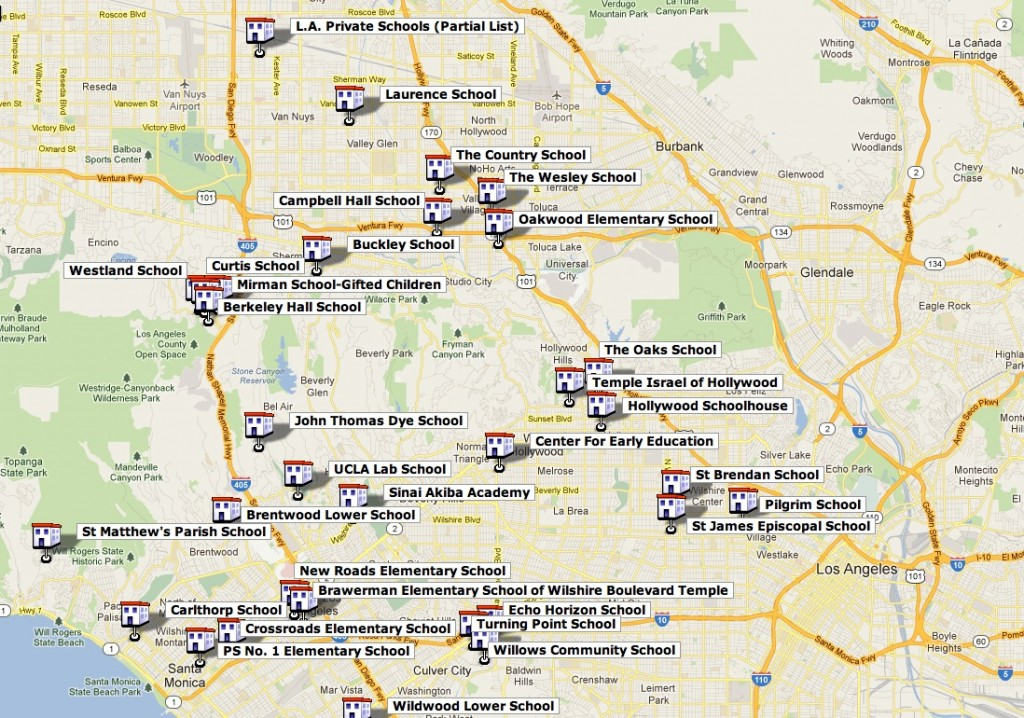 Map of LA Private Schools