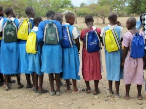Project Knapsack, a non-profit, founded by Beyond The Brochure co-author, Porcha Dodson, works with numerous private schools to offer community service opportunities. Photo: The Namayarse Girls School in Kenya with Project Knapsack school supplies.