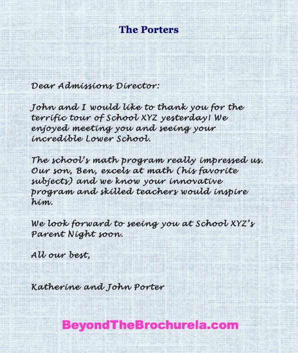 write your own personalized thank you notes to admissions directors