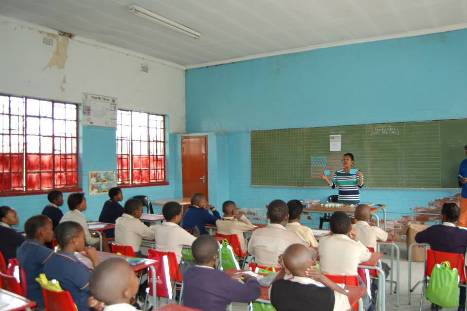 Porcha Dodson, Beyond The Brochure co-author (and former teacher at Curtis School) talks to students in Soweto, S. Africa. April 2014.