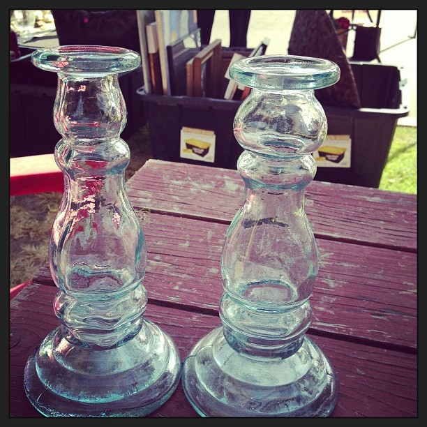 I picked up these glass candle holders for next to nothing at Garage Sale For Hait. From Marilyn at Property Sisters.