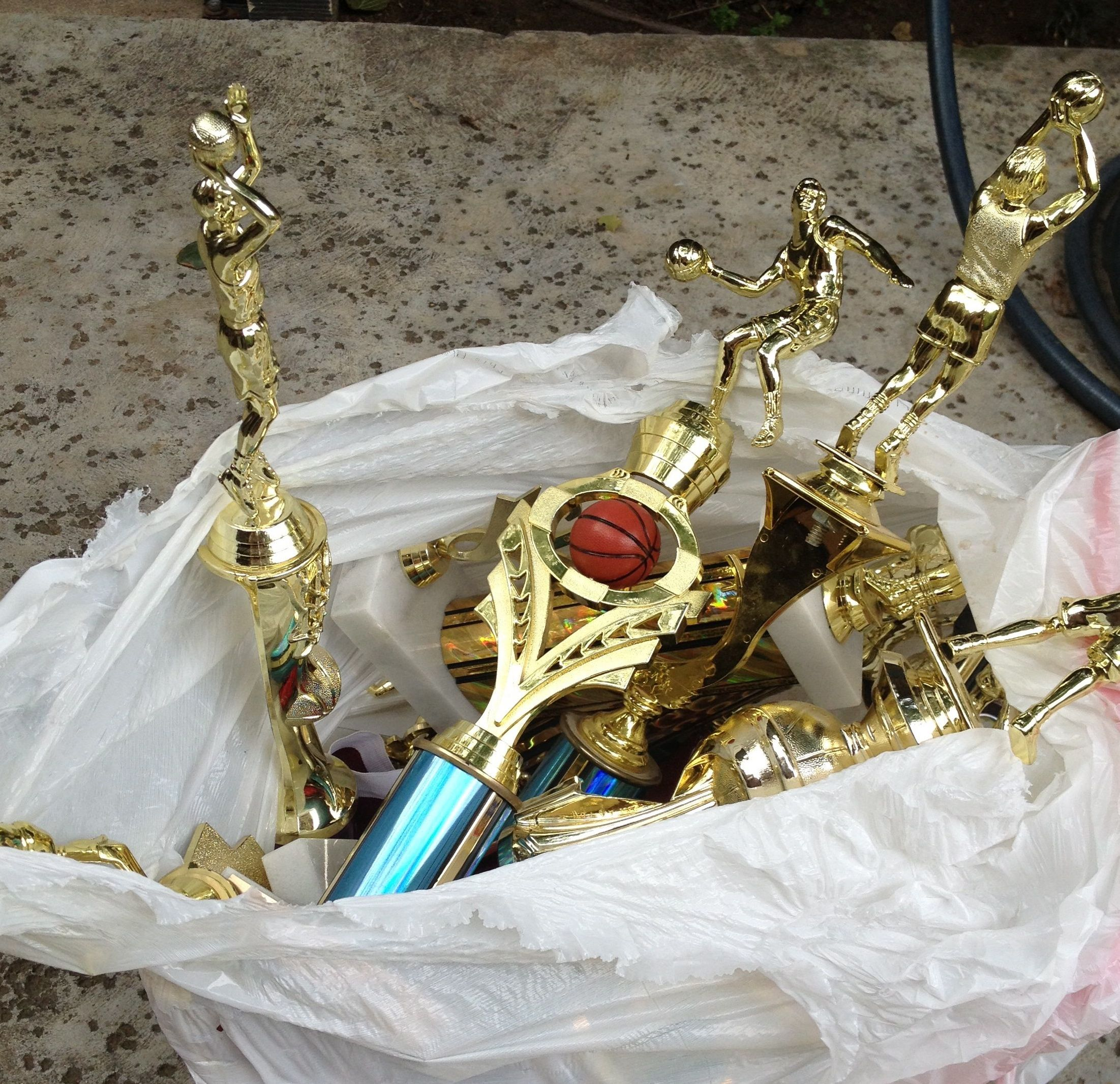 Participation trophies in the trash. It was time.