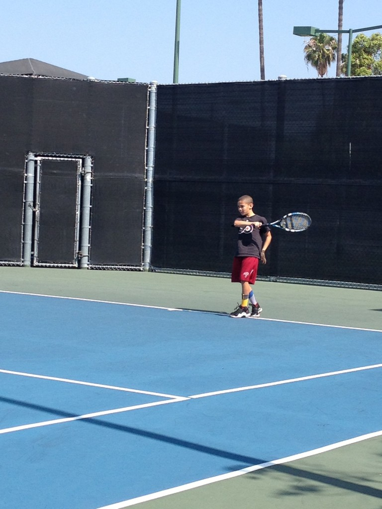 Playing tennis together as a family is one of our favorite activities. At Beverly Hills Tennis public courts.