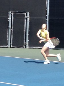 My daughter hitting it! Family tennis.