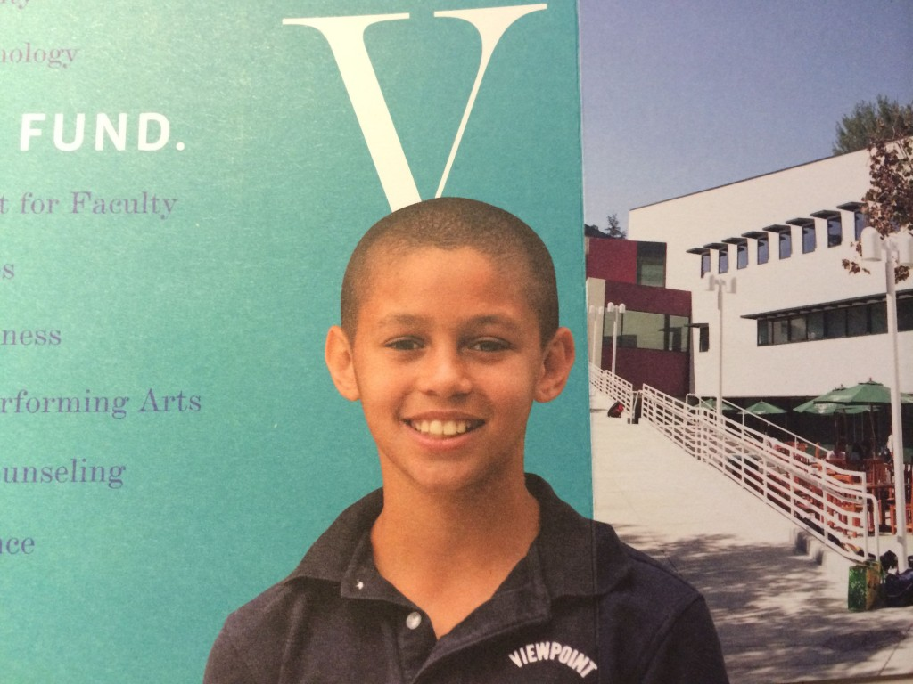 My favorite 11 year-old on the Viewpoint School Annual Fund brochure