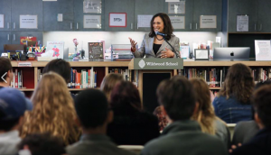 Senator Kamala Harris speaks to seniors at Wildwood High School in West Los Angeles.